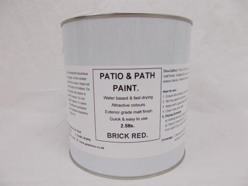2.5lt Patio, Path & Paving Slab Paint Garden BBQ Tarmac - Brick Red