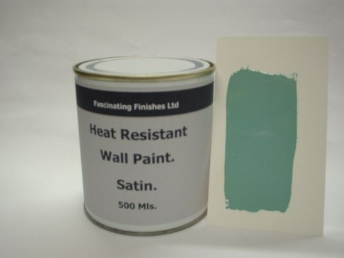 1 x 500ml Satin Duck Egg Heat Resistant Wall Paint. Wood Burner Stove Alcove. Brick, Concrete, Plaster, Cement Board, Rendering, Metal, Timber etc.