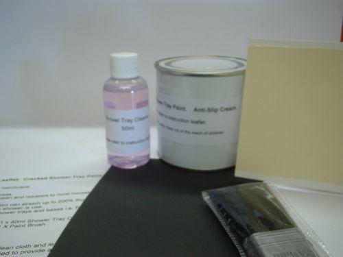 1 x Cracked Shower Tray / Base Paint - Repair Kit. Anti-Slip Cream.