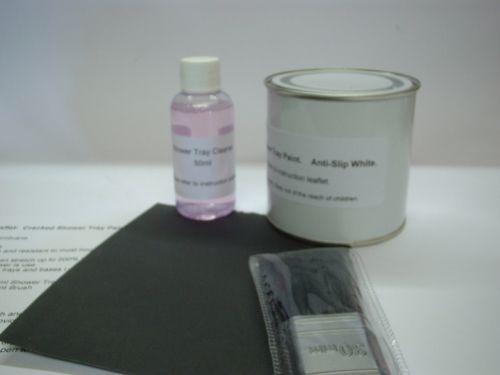 1 x Cracked Shower Tray / Base Paint - Repair Kit. Anti-Slip White.
